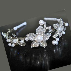 Pearl Wedding Headpiece Crown Silver Leaf Bridal